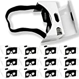 Google Cardboard 12 Set - Virtual Reality Glasses Laminated Cardboard for iPhone and Androids - Virtual Reality Goggles