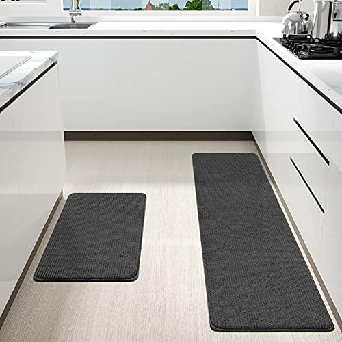 Color&Geometry Tappetino da cucina 44x75 cm + 44x150 cm,tappeto da cucina antiscivolo, lavabile in lavatrice, tappetini da cucina facili da pulire, tappetini d'ingresso per aree esterne (Nero)