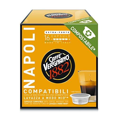 Caffè Vergnano 1882 Capsule Caffè Compatibili Lavazza a Modo Mio Compostabili, Napoli, 128 Unità - 1 kg
