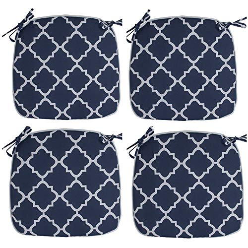 IN4 Care Outdoor/Indoor Chair Seat Cushions with Ties Set of 4, Patio Chair Pads 16x17 Inch for Home Office Patio Furniture Garden Decoration (Blue Geometry)