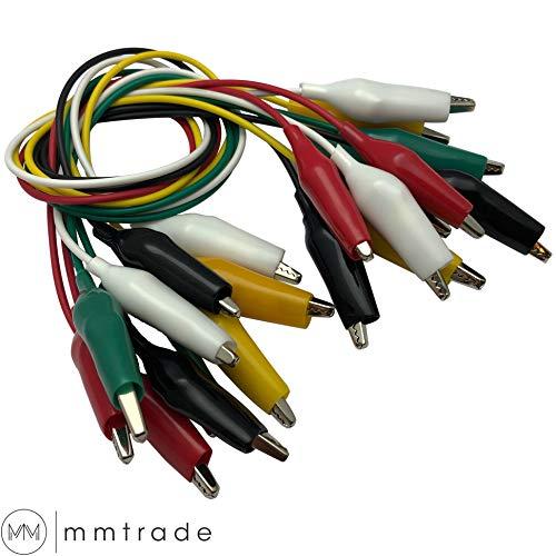 mmtrade | 10x Krokodilklemmen farbig, Krokoklemmen Set Messleitung mit Abgreifklemmen für Schaltungen Multimeter, Prüfkabel ca. 45cm