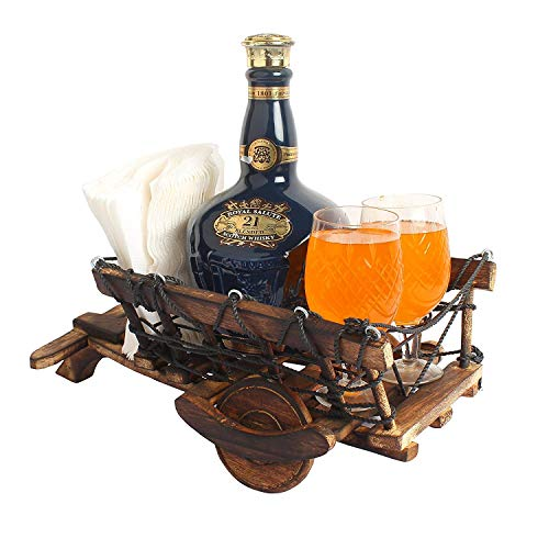 Kesha Spree Wooden Cart Shaped 1 Wine Bottle and 2 Glass Holder Handmade Wooden Cart for Gift Table Item- - Movable and Sturdy - Export Quality