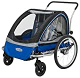 InStep Rocket Double Seat Foldable Tow Behind Bike Trailers, Converts to Stroller/Jogger, Featuring 2-in-1 Canopy and 20-Inch Wheels, for Kids and Children, Blue