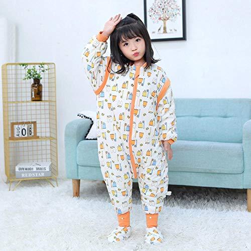 Schlafsack Mit Füße,Unisex Baby Pyjama, Baumwolle Kinder Baby Cartoon Overall-Zahnbürste (Mit Fußabdeckung)_100 Meter (Höhe 85-100 Cm)