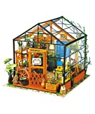 ROBOTIME DIY Dollhouse Wooden Miniature Furniture Kit Mini Green House with LED Best Birthday Gifts