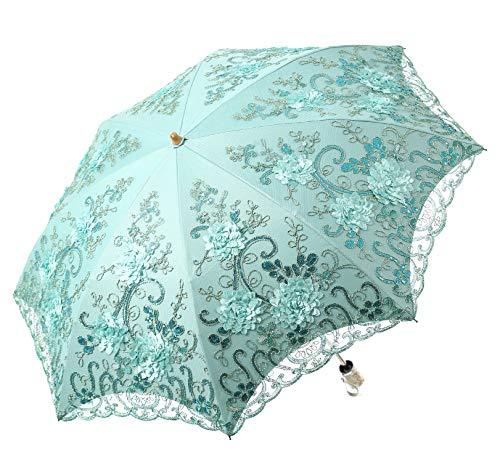 LCY Damen-Sonnenschirm, bestickt, Spitze, Doppeldeck, UV-Schutz, Sonnenschirm, Regenschirm, 2 faltbar Grün grün