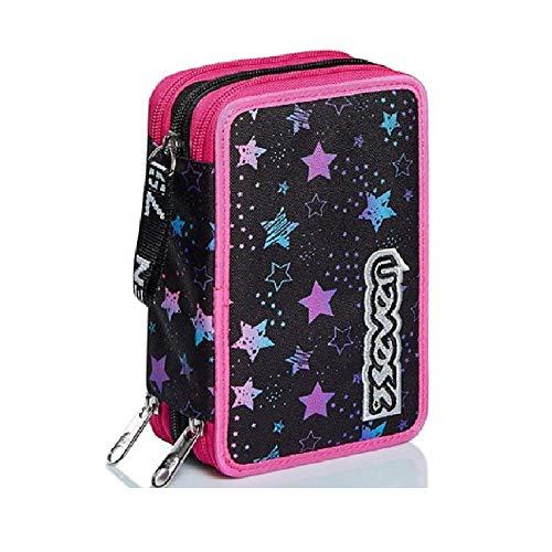 Astuccio Scuola Seven Dance Party Nero Rosa 3 Zip Completo 20x12x7 cm