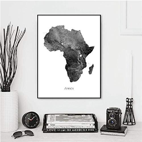 Afrique Carte Affiches et Impressions Aquarelle Carte Voyage Mur Art Toile...