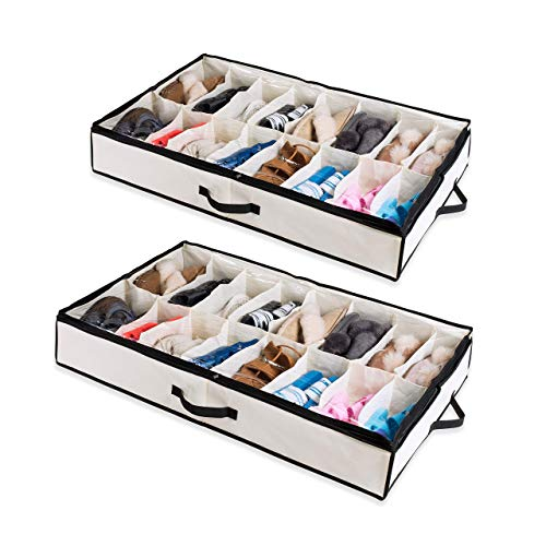 Woffit Under The Bed Shoe Organizer Fits 12 Pairs – Made with...
