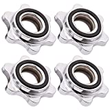 BESPORTBLE 4PCS Anti-Slip Spin-Lock Collar Screw Casting Iron Hex Security Nut Buckle for Barbell Dumbell Weight Lifting (Silver)