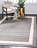 Unique Loom Del Mar Collection Contemporary Transitional Gray Area Rug (9' 0 x 12' 0)