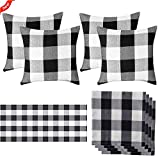 TUOWEI Set of 9 Farmhouse Buffalo Pillow Covers(18' x 18'),Retro Farmhouse Tartan Buffalo Table Cloths(72' x 12'),Cotton Cloth Napkin for Dinners or BBQ,Christmas,Halloween Parties