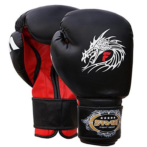 Farabi Boxing Gloves Training Punching Sparring (Black Dragon, 12Oz)