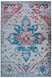 Mylife Rugs Traditional Vintage Non Slip Machine Washable Medallion Distressed Printed Area Rug, Multicolor 5'x7'