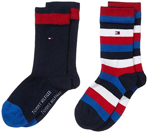 Tommy Hilfiger - Th Kids Basic Stripe Sock 2 Paia, Calze per bambini e ragazzi, blu(blau (midnight blue 563)), taglia produttore: 27-30