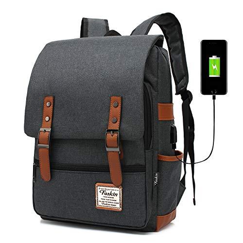 Professional Laptop Backpack, Women Vintage USB College School Bookbag - Black
