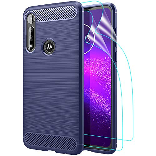 GSDCB Motorola Moto G Power Case 2020, Motorola G Power Case with HD Screen Protector Air Cushion Shockproof Carbon Fiber Phone Protective Cover Brushed Texture Soft TPU Slim Fit for Women Men (Blue)