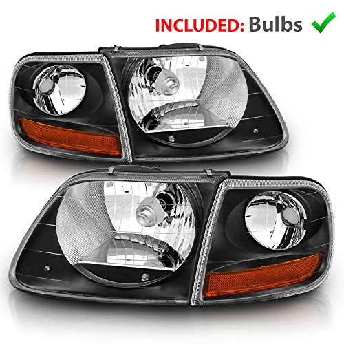 AmeriLite Black Crystal Headlights with Corner Parking Set for Ford F150 F-150 Harley Lighting - Driver and Passenger