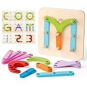 Coogam Montessori Buchstaben Spiel Holz Zahlen Alphabet Bauaktivität Set Vorschule Pädagogisches Spielzeug Form Farberkennung Stapelblöcke Sortierbrett für Kinder