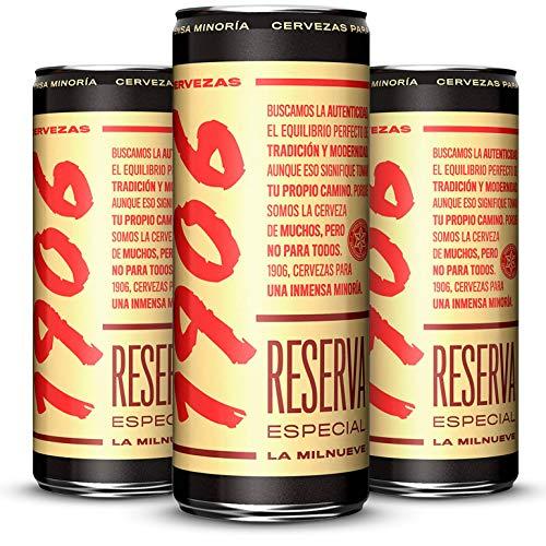 Cerveza 1906 Reserva Especial - Paquete de 24 latas de 330 ml – Bebida alcohólica 6,5% de volumen en alcohol – Cerveza en lata Para una Inmensa Minoría, La Milnueve – Maltas tostadas – Hijos de Rivera