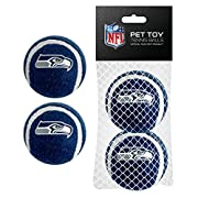 DOG TENNIS BALL TOY set of 2 NFL Licensed Tennis Ball DOG TOY with the logo of your favorite NFL FOOTBALL TEAM A Cool Tennis Ball Bouncy tennis ball Attracting Tennis Balls for Dogs CATS Pets or kids The #1 Dog Toy Tennis Balls Toys for Pets; CONSTRU...