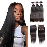 IFLY 7A Grade tissage bresilien en lot avec closure human hair bundles cheveux tissage bresilien lisse avec grammes 4 x 4 en dentelle Fermeture(10 12 14+8pouces)