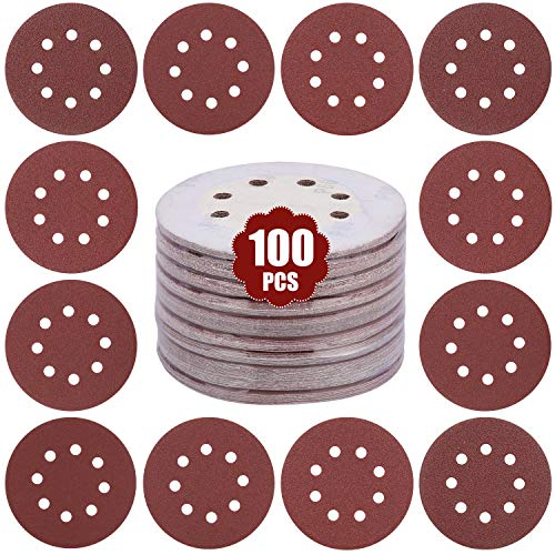 GALAX PRO 100pcs Sander Paper, 5 Inch 8 Holes with 60 80 100 120 150 180 240 320 400 600 Grit Sand Disc, Hook and Loop