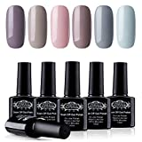 Perfect Summer Gel Nail Polish Set Soak Off LED UV Gel Varnish Long Lasting Nail Lacquer Christmas Nail Starter Kit, Pack of 6 Colors, 10ML Each 081