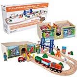 Orbrium Toys 52 Pcs Deluxe Wooden Train Set with 3 Destinations Fits Thomas, Brio, Chuggington, Melissa and Doug, Imaginarium Wooden Train