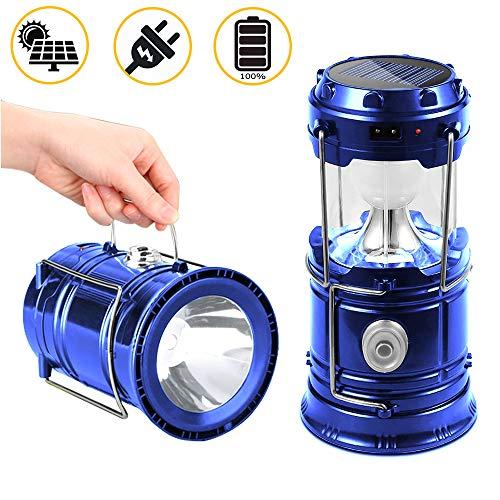 SunTop - Lampada solare portatile ricaricabile, luce da campeggio, lanterna da campeggio, lampadina...