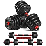 MOVTOTOP Adjustable Dumbbells Weights Set - 66LBS 2 in 1 Barbell Weight Set with Connecting Rod and Non-Slip Handle for Men and Women Home Exercise & Fitness