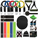 23 Pack Resistance Bands Set Workout Bands, 5 Stackable Exercise Bands 5 Loop Resistance Bands 2 Core Sliders – Door Anchor Handles Ankle Straps Carry Bag Instant Cooling Towel Wrist Wraps
