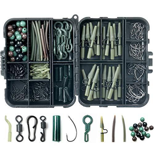 XUBX 180 Pcs Set da Pesca alla Carpa, Kit di Esche da Pesca Carp Fishing Tackle Box, Accessori Portatili per la Pesca con Ami da pesca, Clip di Sicurezza, Perline da Pesca, Rig Tube
