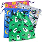 Blue Panda Halloween Party Favor Goody Treat Bags, Reusable with Drawstring (12 Pack)