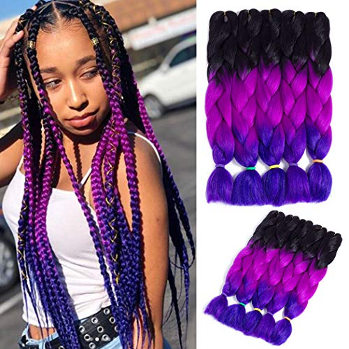 5 Packs Jumbo Braid Kanekalon Synthetic Ombre Braiding Hair Extensions Multiple Tone Crochet Twist Braids Hair for Braiding (Black-Purle Red-Violet, 24 Inch)