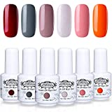 Perfect Summer 6PCS Gel Nail Polish Color Gel Nails Varnish Trendy Soak Off UV LED Home Gel Manicure Nail Starter Kit Gift Set 8ML 060