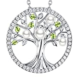 GinoMay Birthday Gifts for Women August Birthstone Peridot Jewellery Mum Wife Tree of Life Necklace Her White Pearl Sterling Silver