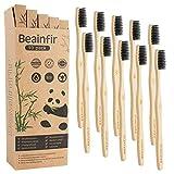 Beainfir Lot de 10 brosses à dents en bambou biodégradables, manches ergonomiques et poils en nylon doux