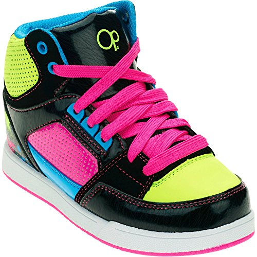 Ocean Pacific Girls Fashion Skate Athletic Shoe, Kids School Shoes Casual Casual Multicolored Bright Green-Pink-Blue-Black (1 Little Kid (Girl))