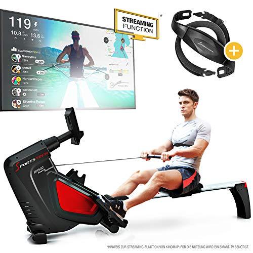 Sportstech RSX500 Rameur- Marque Allemande de qualité -Video & multijoueurs APP - avec Moniteur de fréquence Cardiaque - 16 programmes - résistance magnétique