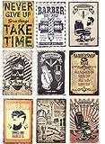 Barber Shop Vintage métal étain signes Plaque salon de coiffure décoration murale fer blanc 20x30 cm 9 pièces-2