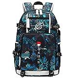 GOYING Uzumaki Naruto/Uchiha Sasuke/Sharingan Anime Cosplay Bookbag College Bag Mochila Mochila Escolar con Puerto de Carga USB-C