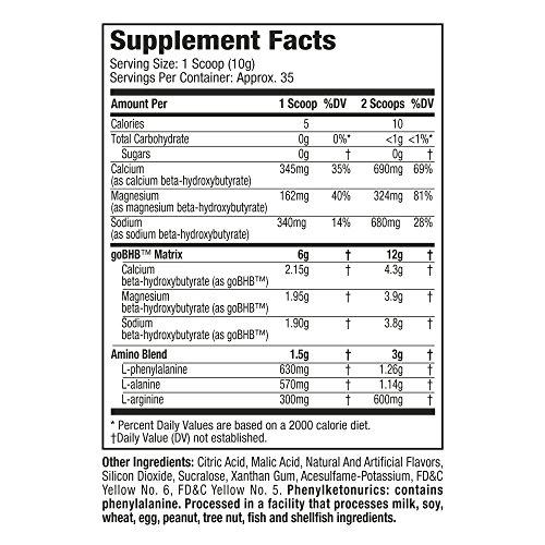 MuscleTech 100% Keto Plus Ketones Supplement, Exogenous Ketones & Aminos, Sour Peach Candy, 35 Servings (342g) 5