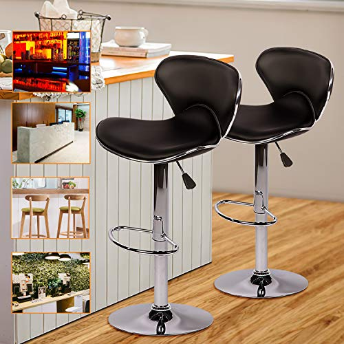 Bar Stool Modern Black PU Leather Adjustable Swivel Barstools Modern Airlift Swivel Barstool Armless Round with Ergonomic Seating for Kitchen Dining Living Bistro Pub Chair Set of 2,Black