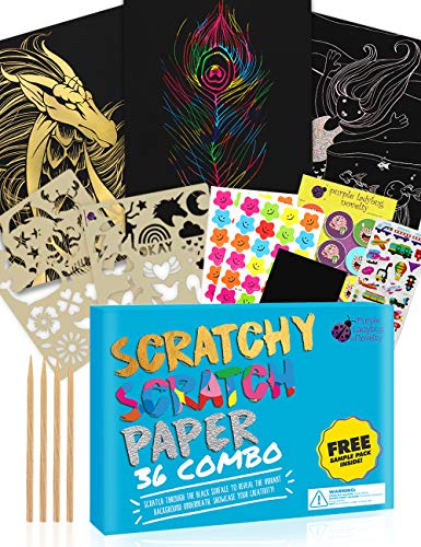 SCRATCH PAPER Combo Art Set for Kids: 36 Big Sheets, 18 Sheets Rainbow + 9 Gold + 9 Holographic Silver! Includes 4 stylus scratchers & stencils! Perfect Travel Activity or Gift for Girls or Boys!