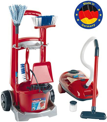 Theo Klein 6742 - Vileda Besenwagen mit Staubsauger, Spielzeug