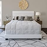 Boyd Sleep Montana Upholstered Platform Bed Frame with Tri-Panel Design Headboard: Faux Leather, Queen, White