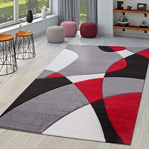 Tappeto Moderno per Soggiorno Astratto Taglio Sagomato in Nero Grigio Rosso, Gre:120x170 cm