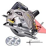 Scie Circulaire, TECCPO Professional 1500W Scie Circulaire avec Laser, 5800...