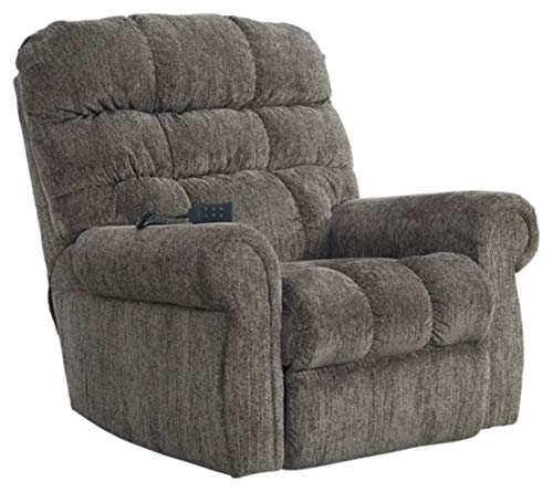 Signature Design by Ashley - Ernestine Casual Upholstered Power Lift Recliner - Adjustable - Gray